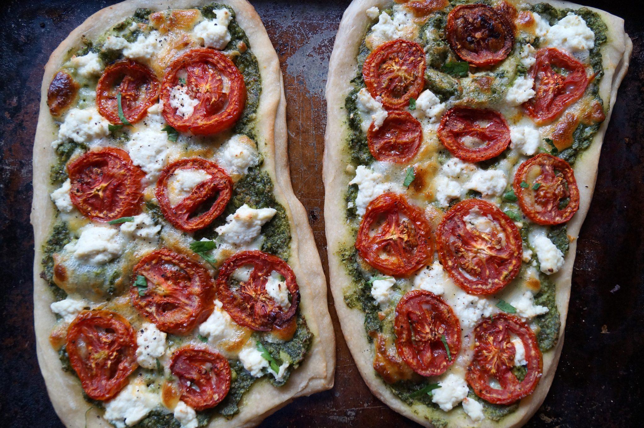 Ricotta Pizza Cilantro-almond pesto, roasted tomato & ricotta pizza ...