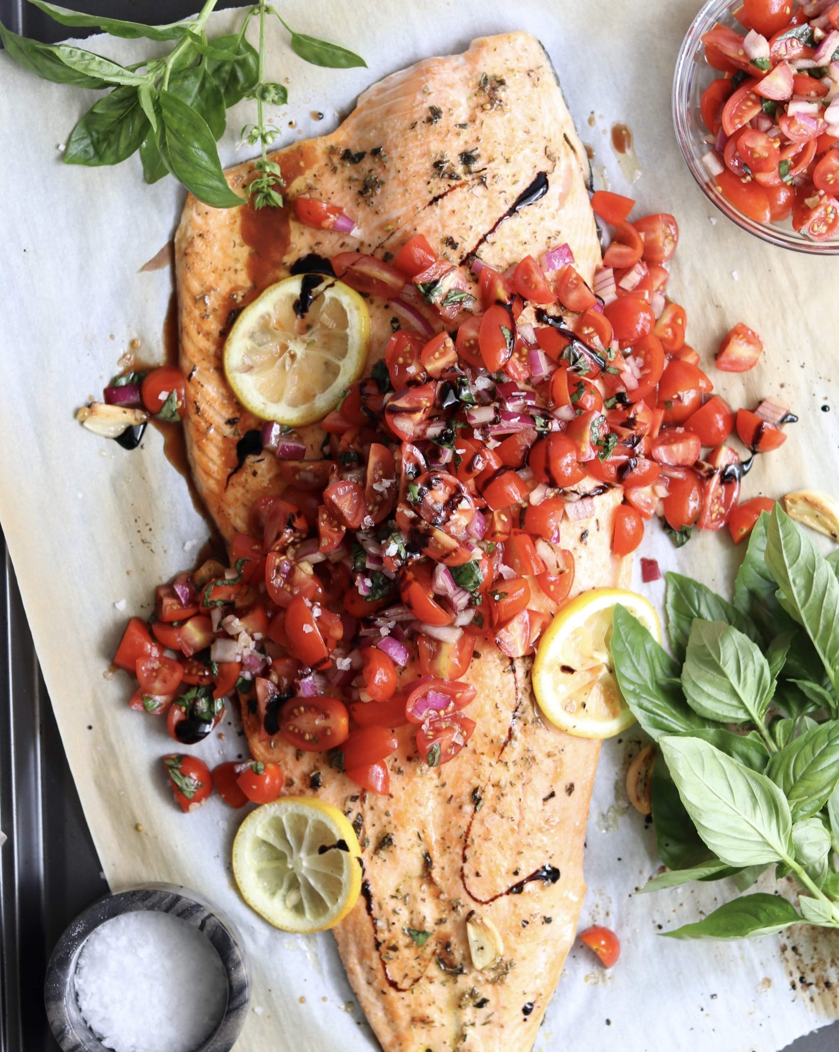 Bruschetta Salmon (Whole30, Paleo, Gluten Free)