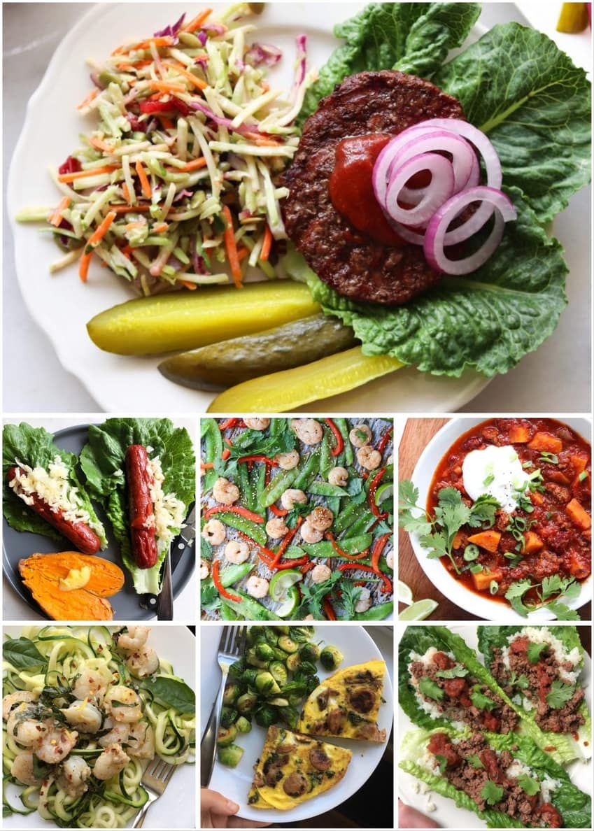 A collage of finished Whole30 dinners
