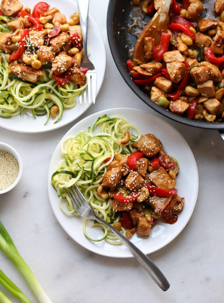 This is a delicious Whole30 take on Kung Pao Chicken, made with red bell peppers to ease the heat factor and make this dish something the whole family can enjoy!