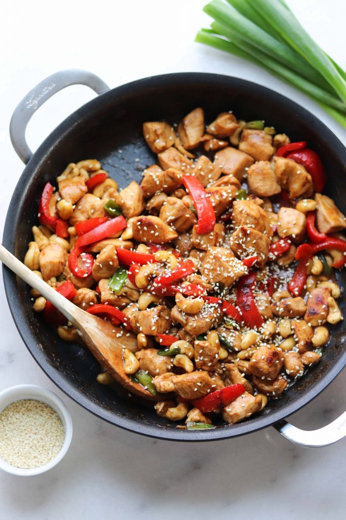 Whole30 compliant Kung Pao Chicken made family-friendly (and LOW CARB!) is a delicious and easy weeknight dinner!