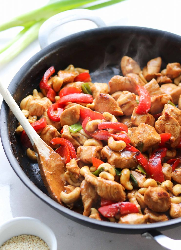 Whole30 compliant Kung Pao Chicken made family-friendly is a delicious and easy weeknight dinner!