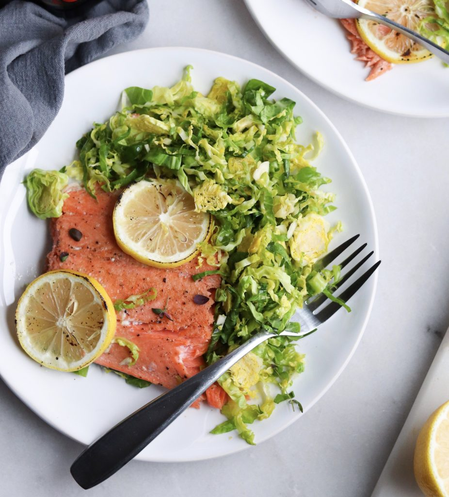 Sheetpan Salmon and Brussels sprouts Salad