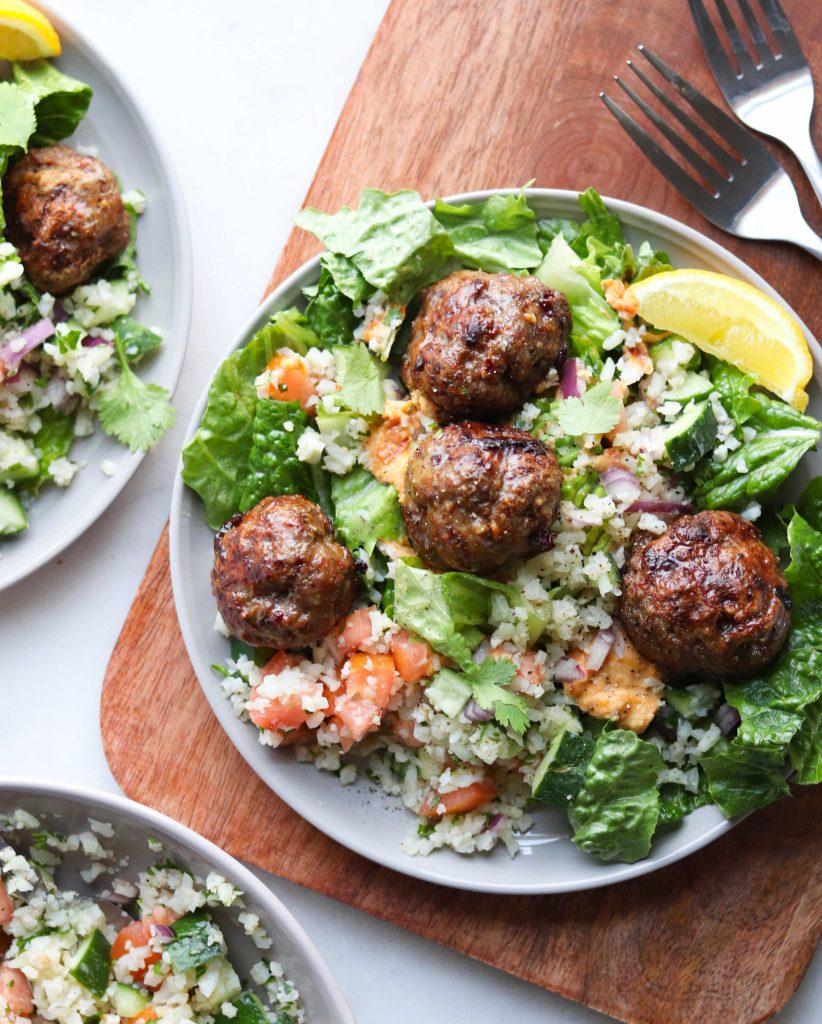 Whole30 Mediterranean Lamb Meatballs - Finished Dish