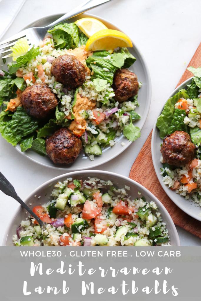 Whole30 Mediterranean Lamb Meatballs - Pinterest Image