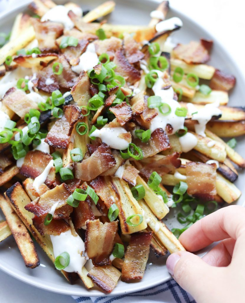Loaded Roasted Parsnip Fries (Whole30) - Finished Dish