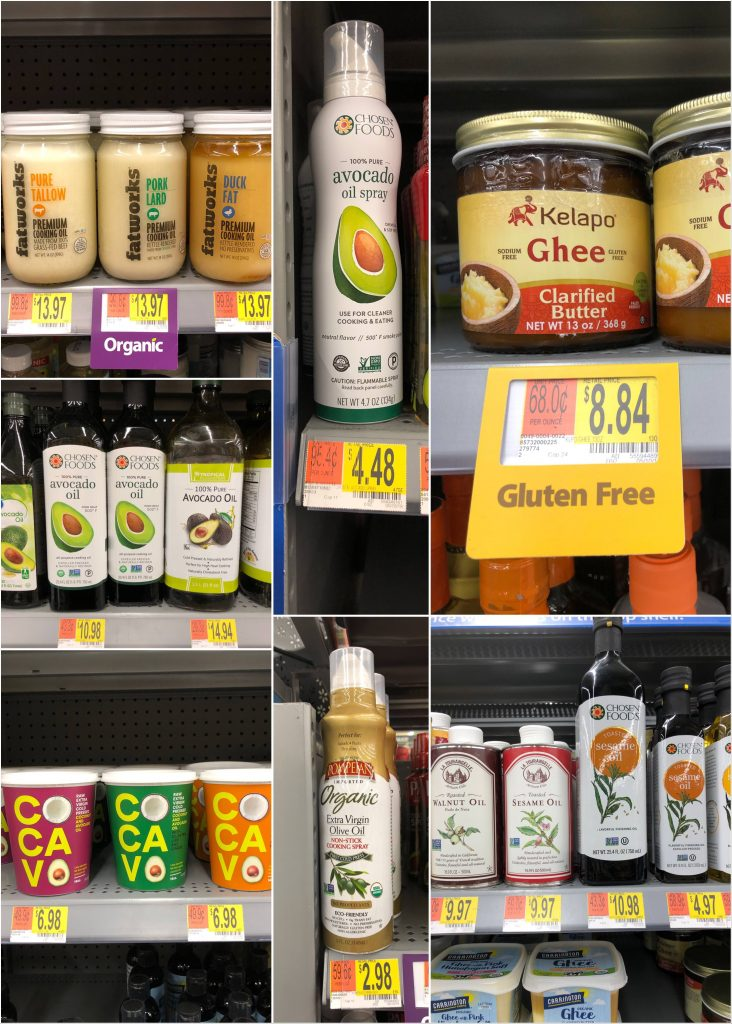 The Whole30 compliant oils, ghee, and animal fats with prices that are available at Walmart