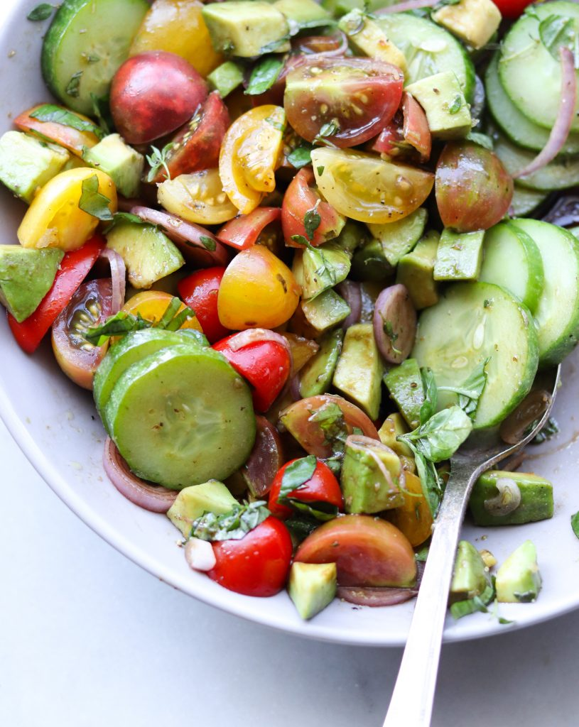 Whole30 Tomato, Cucumber and Avocado Salad - Completed Dish