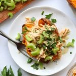 Whole30 Instant Pot Buffalo Chicken Stuffed Sweet Potatoes