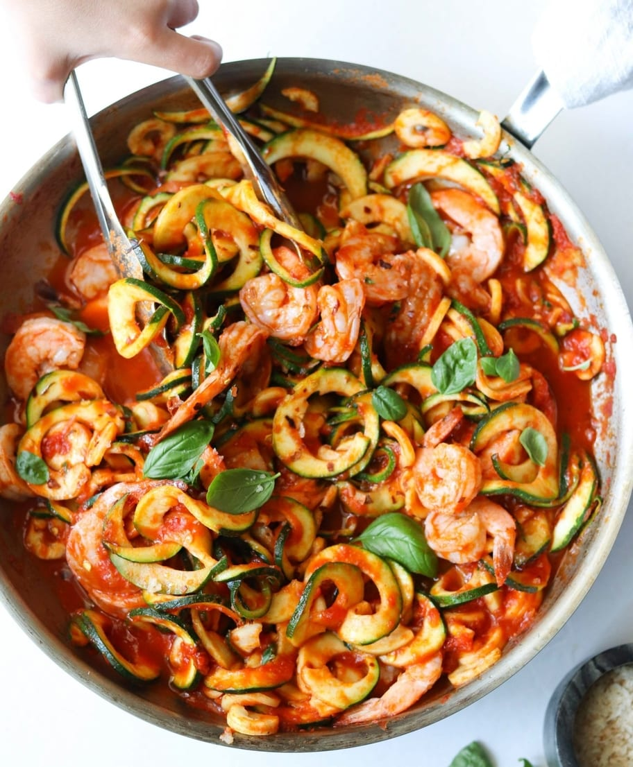Whole30 Shrimp Fra Diavolo, Finished Dish in a stainless steel skillet.