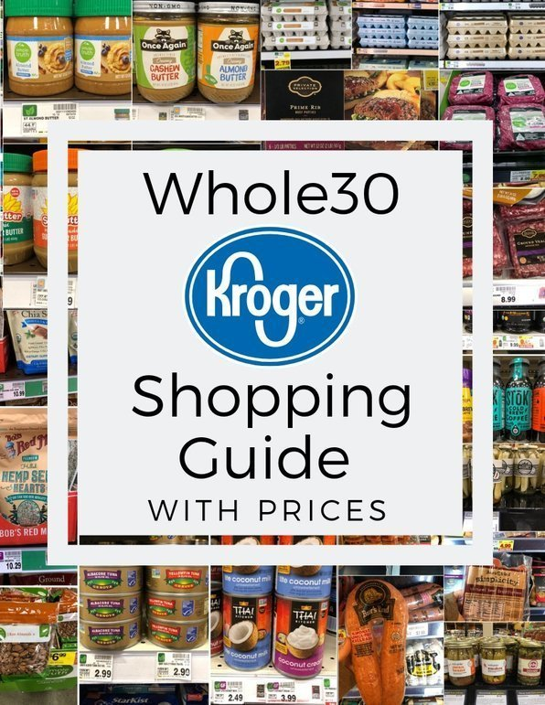 "Collage of photos of groceries with the text, ""Whole30 Kroger Shopping Guide with Prices"""