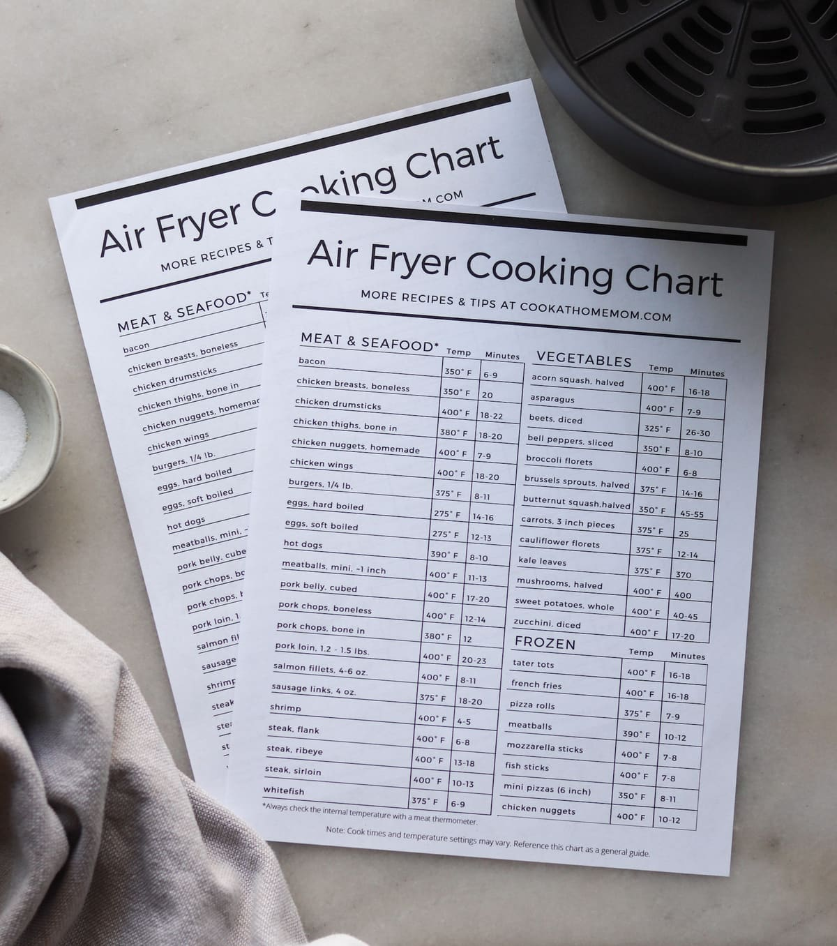 Air Fryer Cook Times Chart Printable Cheat Sheet 2021 Cook At Home Mom